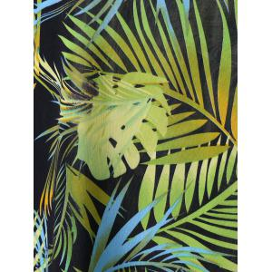 Plus Size Tropical Leaf Printed Hawaiian T-Shirt - LIGHT GREEN 5XL