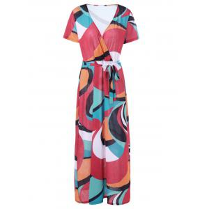 V Neck Plus Size Colorblock Belted Maxi Surplice Dress