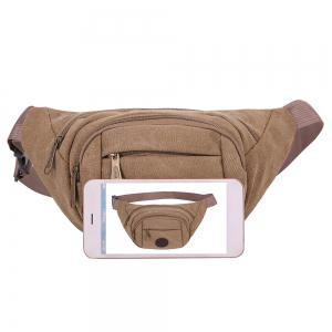 Sports Multifunctional Canvas Waist Bag - BROWN