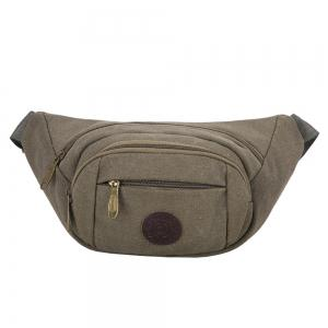Sports Multifunctional Canvas Waist Bag - Green Grey - 37