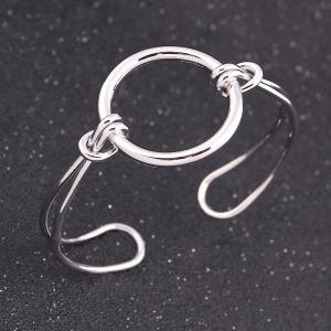 Alloy Circle Ring Adjustable Cuff Bangle - Silver - One-size