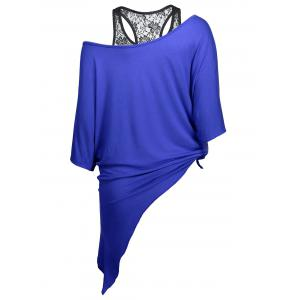 Handkerchief Batwing T-Shirt with Lace Tank Top - BLUE XL