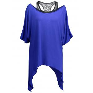 Handkerchief Batwing T-Shirt with Lace Tank Top -