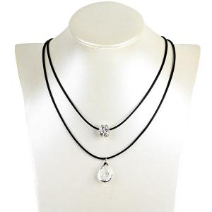 Tear Drop Ball Rhinestone Hollow Out Necklace - Silver
