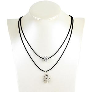 Hollow Out Leaf Ball Rhinestone Pendant Necklace - Silver