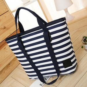 Casual Canvas Stripes Shoulder Bag -
