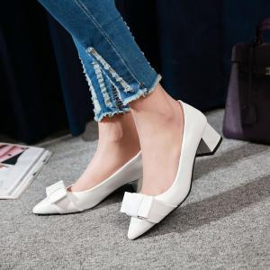 Pointy Patent Leather Pumps - WHITE 38