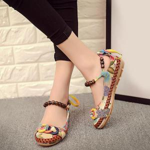 Floral Print Beading Flat Shoes - FLORAL 37