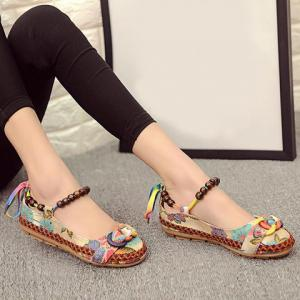 Floral Print Beading Flat Shoes -