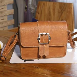 Buckle Strap Cross Body Flap Bag - Light Brown - 38