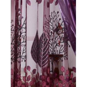 Fabric Sheer Leaf Embroidery Tulle Curtain For Living Room -