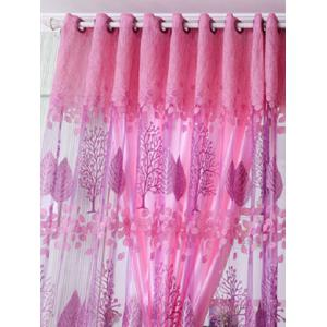 Fabric Sheer Leaf Embroidery Tulle Curtain For Living Room - PINK 100*200CM