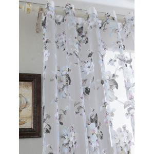 Floral Embroidery Sheer Tulle Curtain with Beads Pendant -