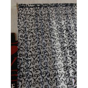 2 Panels Rattan Embroidery Sheer Screen Tulle Curtains -