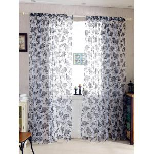 2Pcs/Set Rose Sheer Tulle Fabric Curtain For Bedroom - Black - 100*200cm (2pcs And Set)