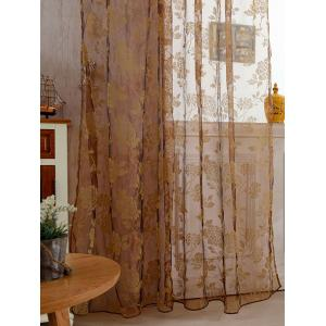 2Pcs/Set Rose Sheer Tulle Fabric Curtain For Bedroom - LIGHT COFFEE 100*200CM(2PCS/SET)
