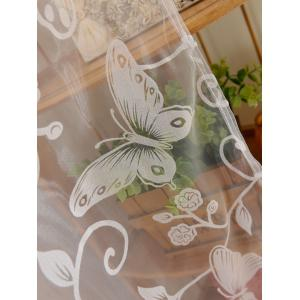 2 Panels Butterflies Embroidery Window Sheer Tulle Curtain -