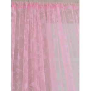 2 Panels Butterflies Embroidery Window Sheer Tulle Curtain - PINK 100*200CM(2PCS/SET)