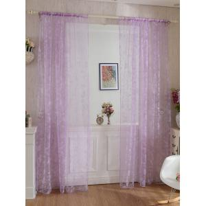 2 Panels Butterflies Embroidery Window Sheer Tulle Curtain - Light Purple - 100*200cm(2pcs And Set)