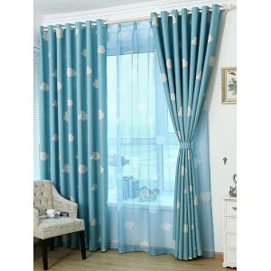 Cartoon Cloud Printed Window Screening Blackout Curtain - Blue - 100*200cm
