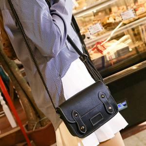 Stitching Faux Leather Cross Body Bag - BLACK