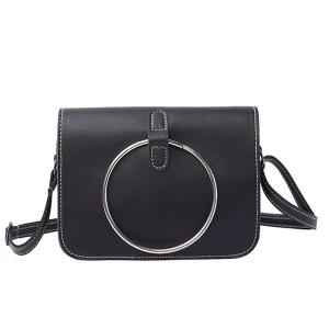 Metal Ring Flap Cross Body Bag