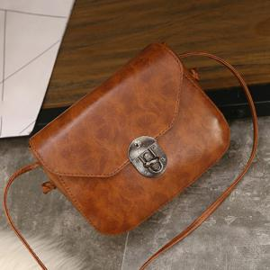 Metal Detail Cross Body Flap Bag - LIGHT BROWN
