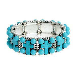 Vintage Artificial Turquoise Beads Crucifix Bracelet - Turquoise Blue