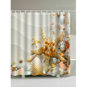 Sandy Beach Starfish Print Waterproof Shower Curtain - Off-white - 180*200cm