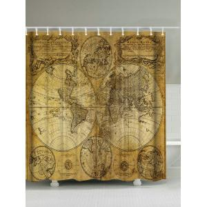 Ancient World Maps Polyester Waterproof Shower Curtain - Brown - 180*200cm