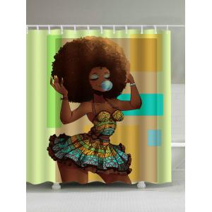 Afro Hair Beautiful Girl Polyester Waterproof Shower Curtain - Brown - 180*200cm