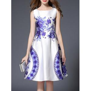 High Waist Floral Geometric Printed Flare Dress