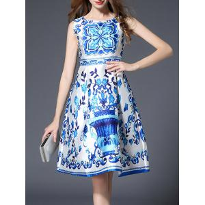 Sleeveless High Waist Printed Dress
