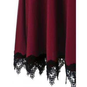 Lace Insert Party Skater Dress - WINE RED 2XL
