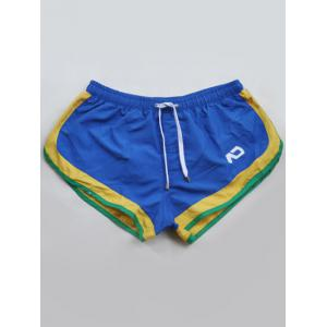 Contrast Panel Drawstring Swimming Trunks -