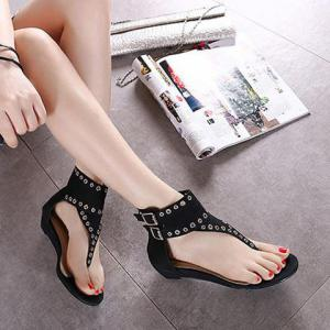 Eyelets Zipper Sandals - BLACK 37