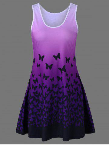 Store Plus Size Butterfly Print Ombre A Line  Tank Dress PURPLE XL