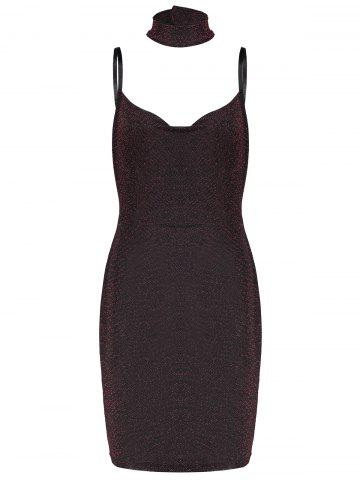 Outfit Lurex Spaghetti Straps Tight Party Dress with Chokers - L BURGUNDY Mobile