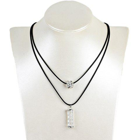 Outfits Artificial Leather Rope Rhinestone Ball Necklace SILVER