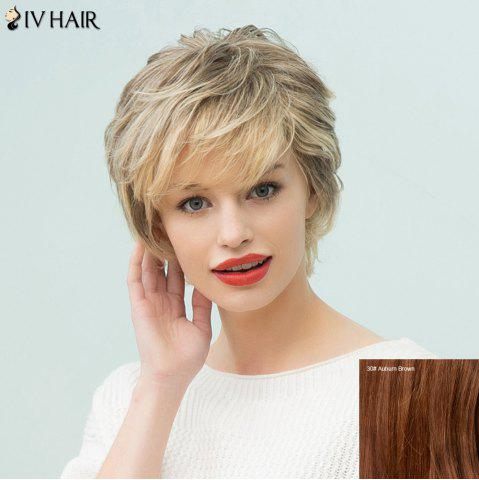 Siv Hair Short Layered Side Bang Human Hair Wig - AUBURN BROWN
