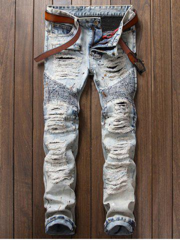 Shops Paint Splatter Ripped Biker Jeans LIGHT BLUE 34