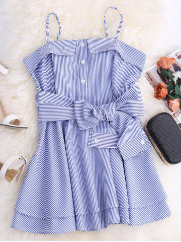 Best Spaghetti Strap Striped Mini Tunic Dress