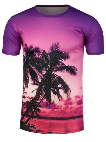 Discount 3D Palms Sunset Print Hawaiian T-Shirt