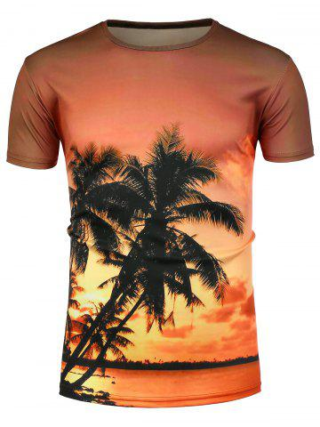Affordable Crew Neck 3D Palm Sunset Hawaiian T-Shirt COLORMIX L