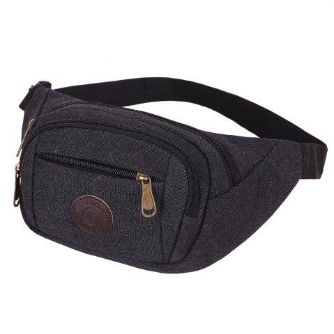 Fancy Sports Multifunctional Canvas Waist Bag - BLACK  Mobile