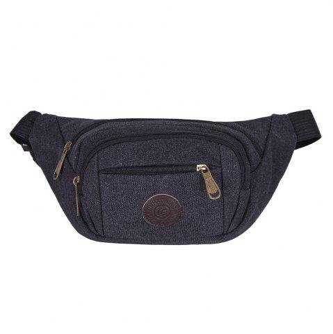 Outfits Sports Multifunctional Canvas Waist Bag - BLACK  Mobile