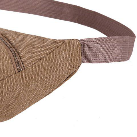 Latest Sports Multifunctional Canvas Waist Bag - BROWN  Mobile
