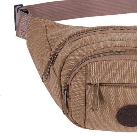 Chic Sports Multifunctional Canvas Waist Bag - BROWN  Mobile
