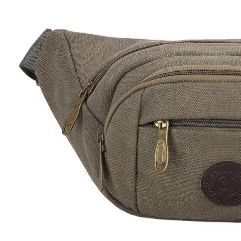 Chic Sports Multifunctional Canvas Waist Bag - GREEN GREY  Mobile