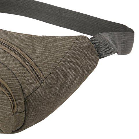 Latest Sports Multifunctional Canvas Waist Bag - GREEN GREY  Mobile